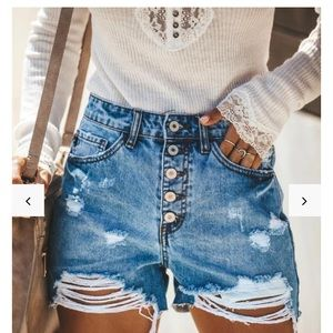 Vici Hot Mama high rise distressed denim shorts